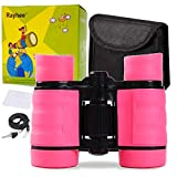 Rayhee Rubber 4x30mm Toy Binoculars for Kids - Bird Watching - Educational Learning - Hunting - Hiking - Birthday Presents - Gifts for Children - Outdoor Play (Pink)