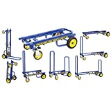 Rock-N-Roller R2RT-BL (Micro) 8-in-1 Folding Multi-Cart/Hand Truck/Dolly/Platform Cart/26' to 39' Telescoping Frame/350 lbs. Load Capacity, Blue