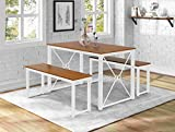 vinking 3 Piece Dining Set 1 Table with 2 Benches Metal Frame and MDF Board Kitchen Dining Room Furniture for 4 People White