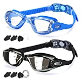 COOLOO Swim Goggles Men, 2 Pack Swimming Goggles for Women Kids Adult Anti-Fog,Black & Blue (Sports)