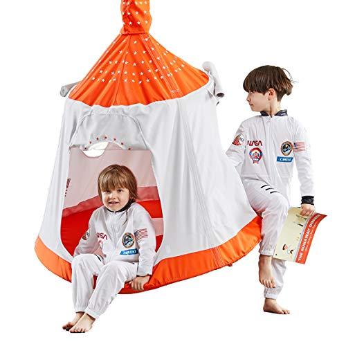 HAPPYPIE Wasserdichtes Spielzelt für Kinder im Freien, Hängematte, Umgebungslichter und Montagezubehör enthalten (Orange und Weiß)