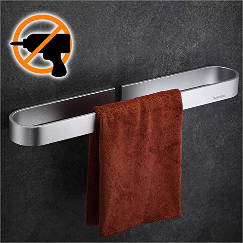Wangel Handtuchstange Handtuchhalter ohne Bohren 40cm, Handtuchring, Patentierter Kleber + Selbstklebender Kleber, Aluminium, Matte Finish, Silber