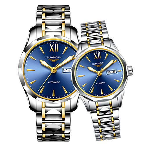 Men's Women's Couple Watches Luminous Waterproof Calendar Tungsten Steel Band Lovers Her or His Set of 2 (Gold Silver Blue 2)