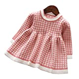 Mornyray ベビー服ワンピースドレスニット長袖チェック柄子供服暖か厚手おしゃれ女の子幼児0-4歳サイズ110(ピンク)