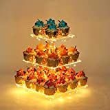 YestBuy 3 Tier Square Cupcake Stand - Premium Cupcake Holder - Acrylic Cupcake Tower Display - Cady...