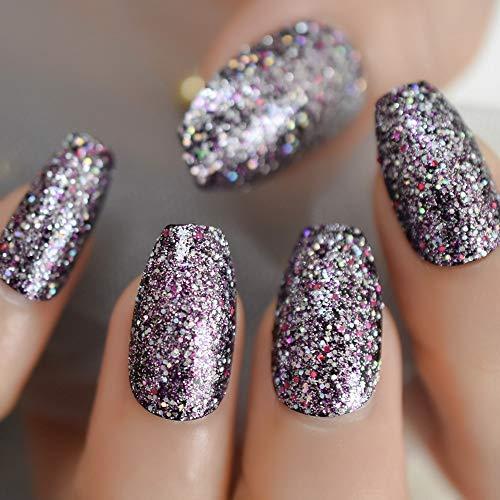 EchiQ Xmas Style Glitter Fake Nails Coffin Shape Mix Shimmer Christmas Elemant Fingernails Medium Size Nail Kit 24