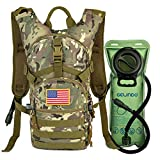 Gelindo Military Tactical Hydration Backpack with 2L Water Bladder Light Weight, MOLLE Tactical Assault Pack for Hiking Biking Running Walking Climbing Outdoor Travel(CP-Tan)