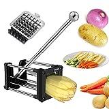 Laxus Coupe Frites, Coupe-Frites Lames Acier Inoxydable et Légumes, Jeu de Deux Lames pour Plus de Choix dans la Taille des Frites Fines ou Moyennes