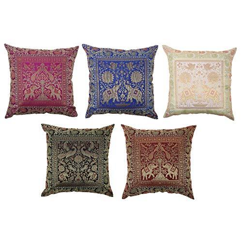 Fodera cuscino per divano e letto, set di 5 pezzi Cuscini in seta di elefante multicolore,...