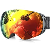 findway Ski Goggles, OTG Snowboard Goggles Magnet Interchangeable Lens Winter Snow Goggles Anti-Fog UV Protection Helmet Compatible for Men Women