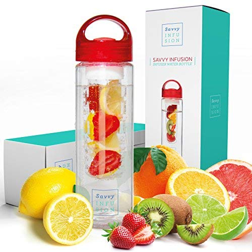 Savvy Infusion Water Bottles - Fruit Infuser Bottle with...