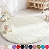 Soft Round Area Rug for Bedroom,4 ft Ivory Circle Rug for Nursery Room, Fluffy Carpet for Kids Room, Shaggy Floor Mat for Living Room, Furry Area Rug for Baby, Teen Room Decor for Girls Boys