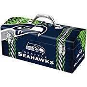 Full-Print Tool Box Measures 16-inches in Width and 7.5-inches in Height Constructed of High-Strength Steel for that Extra Durability and is Decorated with Bright and Vibrant Team Colored Graphics Features Dual Latches that Keep Items Secure and Incl...