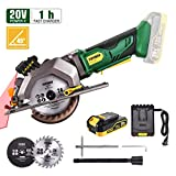 Circular Saw Cordless, POPOMAN 4-1/2' Mini Saw 20V, 1H Fast Charger, 9.5'' Base Plate, One Hand Control, 2.0Ah Battery, Laser Guide, Cutting Depth 1-11/16'' (90), 1-3/8'' (0-45), Wood metal Cuts