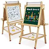 Tableau Enfants Bois 3 en 1, Arkmiido Tableau Double Face, Tableau Noir et...