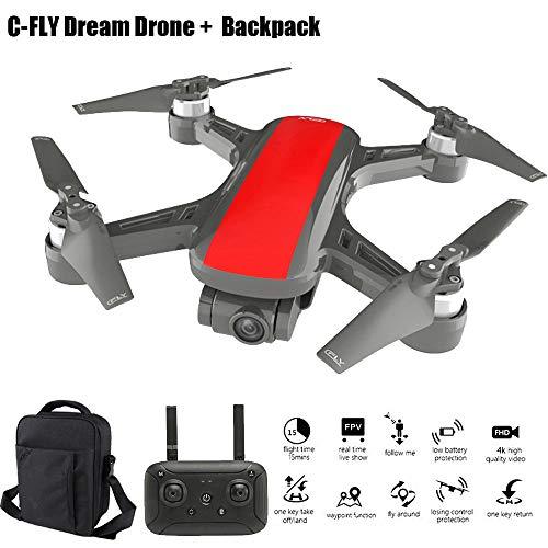 Sixcup C-Fly Dream Drone da 800 Metri + 15 Minuti di Durata della Batteria + Motore a Due Assi Senza spazzole + 4 K HD Pixel + GPS/Flusso Ottico + Zaino Aereo, Rosso, 4k