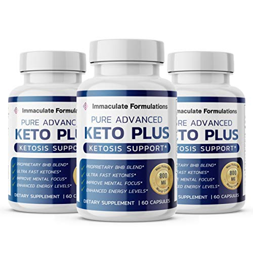 Advanced Keto Plus Pills Advanced BHB Ketogenic Supplement Exogenous Ketones Ketosis for Men Women 180 Capsules 3 Bottle 1