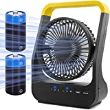 Battery Operated Fan, Super Long Lasting Battery Operated Fans for Camping, Portable D-Cell Battery Powered Desk Fan with Timer, 3 Speeds, Whisper Quiet, 180° Rotation, for Office,Bedroom,Outdoor, 5''