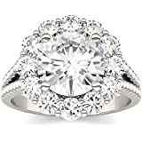 14K White Gold Moissanite by Charles & Colvard 9mm Round Engagement Ring-size 5, 4.22cttw DEW