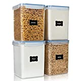 Large Food Storage Containers 5.2L / 176oz, Vtopmart 4 Pieces BPA Free Plastic Airtight Food Storage Containers for Flour, Sugar, Baking Supplies, with 4 Measuring Cups and 24 Labels