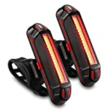GPMTER Ultra Bright Bike Tail Light, USB Rechargeable Taillight, Waterproof Bicycle LED Rear Light for Road MTB Mountain Bikes, Helmets. Easy to Install for Cycling Safety Flashlight 2Pcs
