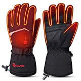 SAVIOR HEAT 2020 Upgrade Heated Gloves for Men Women, 7.4V Electric Rechargeable Battery Heating Ski Gloves for Cold Hands (Black, L)