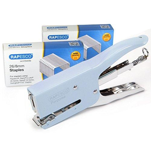 RAPESCO 1355 Porpoise Cucitrice a Pinza Classica in Metallo, Capacit 50 Fogli, Usa Punti 26 e 24 da 6-8 mm, Azzurro