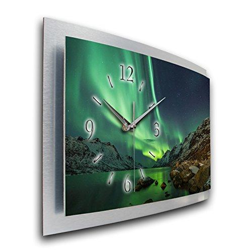 Kreative Feder Wanduhr Polarlicht Naturwunder 3D XXL Designer leise Funk Motiv Funkuhr Wandbild modernes Design WAA054FL (80x40cm)
