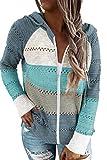 Acelitt Womens Casual Lightweight Long Sleeve Zip up Zipper Striped Knit Sweaters Hoodies Sweatshirts Pullover Jackets Large Sky Blue
