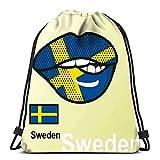Hdadwy Mochila con cordón Bolsas Deportivas Bolsas de Asas con cincha Bandera de Suecia Pintada con Labios Símbolos Nacionales de Idiomas Extranjeros para Viajes y Almacenamiento