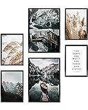 Heimlich® Tableau Décoration Murale - sans Cadres - Set de Poster Premium pour la Maison, Bureau, Salon, Chambre, Cuisine - 2 x (30x42cm) et 4 x (21x30cm) | sans Cadres »Bateau Montagnes Pampa «