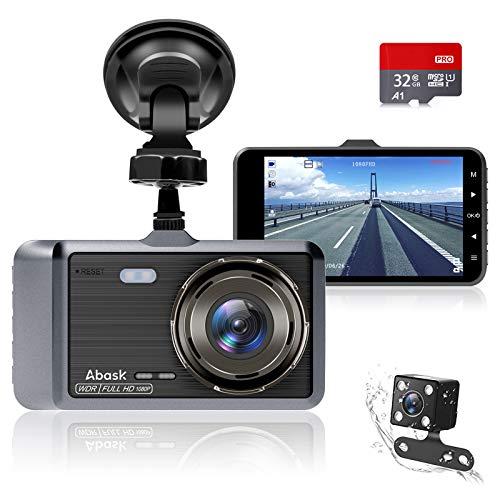 Dash Cam, cámara doble Abask para automóvil, visión nocturna FHD 1080P de 4 pulgadas, lente gran angular de 170 °, WDR, sensor G, grabación en bucle, detector de movimiento, monitor de estacionamiento