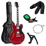 Best Choice Products All-Inclusive Semi-Hollow Body Electric Guitar Set w/Dual Humbucker Pickups, Pickup Selector - Red