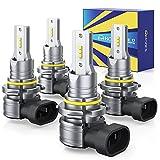 HONCS 9005 9006 LED Headlight Bulbs, 300% Brighter Wireless LED HB3 HB4 High/Low Beam, 6500K Cool...