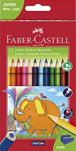 Faber-Castell 116501 - Jumbo Buntstifte dreikant, 5.4 mm, 12er Karton