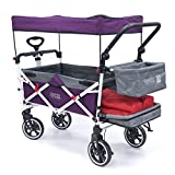 Creative Outdoor Push Pull Collapsible Folding Wagon Stroller Cart for Kids | Titanium Series | Beach Park Garden & Tailgate (Purple)