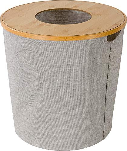 möve Wäschekorb mit Deckel, Holz, 45 x 45 cm