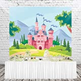 HUAYI Fairy Tale Castle Photography Backdrop Princess Girl Birthday Banner Photo Studio Booth Background for Party 5X3ft xt-7468
