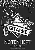 Gitarre Notenheft Blanko: Notenheft DIN A4 Mit 110 Seiten - Notenpapier für Kinder und Erwachsene, Notenblock, Musikheft, Notenbuch, Notenblätter - Motiv: Gitarre Musik Noten Vintage Schwarz