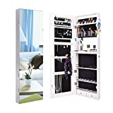 YU YUSING Full Screen Mirror Jewelry Cabinet, Jewelry Armoire Storage Organizer with Inner Makeup Mirror, 2 Drawers, Scarf Hanging Ring, Wall/Door Mounted for The Valentine's Day