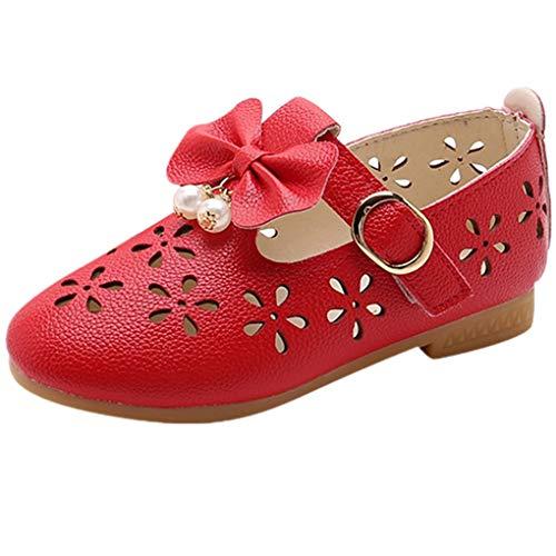 Babyschuhe Ballerinas/Dorical Mädchen Sommer rutschfeste Schuhe/Kinderschuhe mit Butterfly-Knot Perle Hohl Outdoor Casual Schuhe Party Prinzessin Schuhe Festliche Schuhe 21-36 EU(Rot,27 EU)