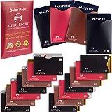 18 RFID Blocking Sleeves (14 Credit Card Holders & 4 Passport Protectors) Ultimate Premium Identity Theft Protection Sleeve Set for Men & Women. Smart Slim Design fits Wallet/Purse (Color Versatile)