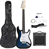 Smartxchoices 39' Electric Guitar Full Size Blue Beginner Guitar with 10W Amp, Case and Accessories Pack for Starter