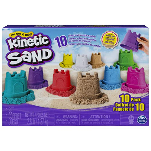 Kinetic Sand, Castle Containers 10-Color Pack for Kids Aged 3 and Up, Multicolor