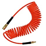 YOTOO Polyurethane Recoil Air Hose 1/4' Inner Diameter by 25' Long with Bend Restrictor, 1/4' Industrial Quick Coupler and Plug, Red