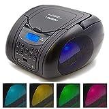 Lauson CP555 Boombox with Cd Player Mp3 | Portable Radio CD-Player Stereo with USB | Cd Player for Kids | LED Light | Headphone Jack (3.5mm) CD-Radio (Black)