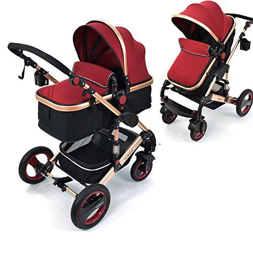 Daliya Bambimo 2in1 Kinderwagen - Kombikinderwagen 9-Teiliges Set incl. Babywanne & Sportsitz/Buggy - 1-Klick-System/Alu-Rahmen/Voll-Gummireifen/Sonnenschutz/Getränkehalter in Bordeaux-Rot