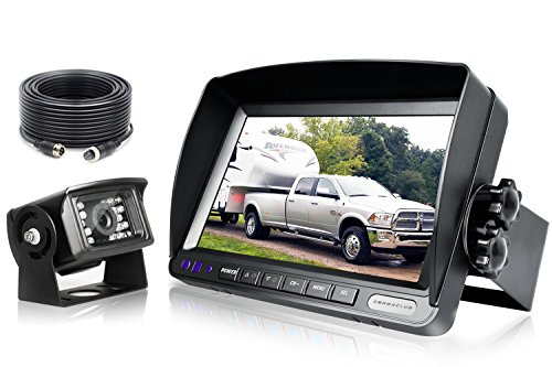 ZEROXCLUB Backup Camera System Kit,Sharp CCD Chip, 100% Not Wash Up,IP69 Waterproof Rear View Camera + 7 LCD Reversing Monitor for Truck/Semi-Trailer/Box Truck/RV (ERY01-Wired)