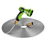 Beaulife New 304 Stainless Steel Metal Garden Hose with 8 Functions Metal Garden Hose Nozzle 25ft|Flexible, Portable & Lightweight - No Kink, Tangle & Puncture Resistant (Renewed)