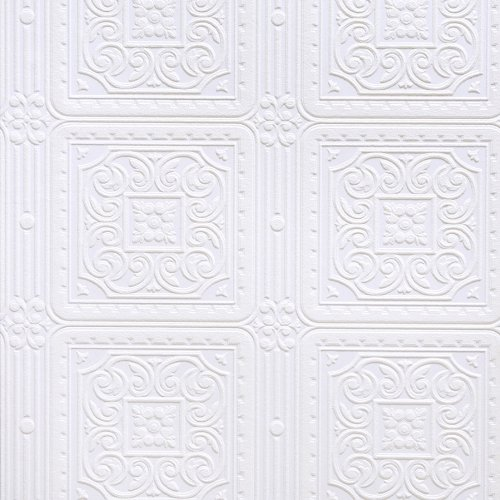 Allen Roth Wallpaper: Brewster Anaglypta Paintable Wallpaper with Square Ceiling Tiles